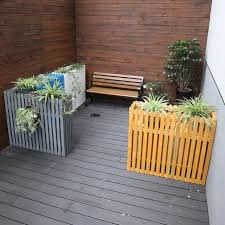 Preservative Outdoor Wood Flower Box In Front Of Outdoor Cafe Restaurant Partition Wall Fence Fence Flower