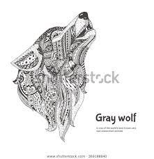 Handgetekende Wolf Zijaanzicht Met Etnische Bloemendoodle