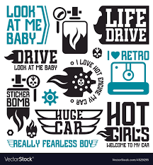 Vinyl Stickers On Car Bomb Royalty Free Vector Image