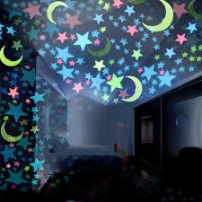 Amazon Com Moon Stars Wall Sticker 100pc Kids Bedroom Fluorescent Glow In The Dark Stars Moons Wall Stickers New By Gornorriss Home Kitchen