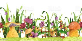 Seamless Border Mushrooms With Grass Flowers Butterfly Fence Signpost Stock Illustration Download Image Now Istock