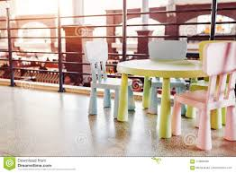 Table For Children In Cafe Game Room For Kids In Shopping Center Family Place To Relax After Shopping Stock Image Image Of Children Business 113836485