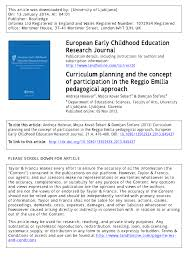PDF) Curriculum planning and the concept of participation in the Reggio  Emilia pedagogical approach