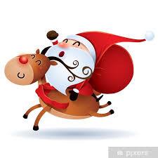 Fotobehang Kerstman en Rudolph • Pixers® - We leven om te veranderen