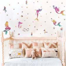 Cartoon Mermaid Wall Stickers For Kids Room Home Decor Animal Fish Star Dots Poster Art Girls Baby Bedroom Wall Decals Mural Buy At The Price Of 3 05 In Aliexpress Com Imall Com