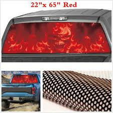 Red Car Truck Suv Rear Window Flaming Skull Tint Graphic Decal Sticker 58 X 18 Archives Midweek Com