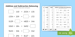 uks2 addition and subtraction balancing