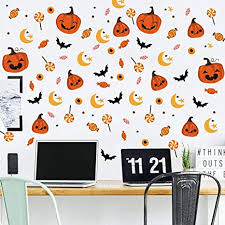 Amazon Com 6 Set Reative Halloween Wall Stickers Funny Pumpkin Lollipop Translucent Wall Decal For Nursery School Kids Room Living Room Wall Art Decor Arts Crafts Sewing