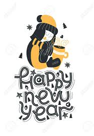 happy new year hand drawn lettering quote cute girl in hat and