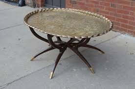 large vintage brass tray coffee table