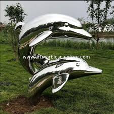 metal dolphin stainless steel statue