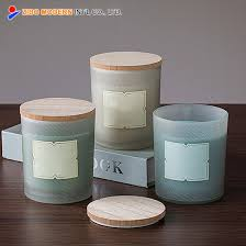 frosted glass candle jar with wooden