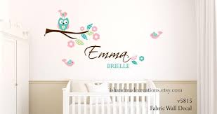 Fabric Owl Wall Decal Personalized Fabric Re Usable And Etsy
