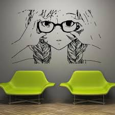 Anime Wall Decals Anime Stickers Girl Face Glasses Hair Anmwd7 Removable Vinyl Anime Wall Decals Anime Stickers Decal Wall Art Wall Decal Sticker Wall Decals
