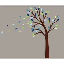 Green And Blue Blowing Nursery Wall Decals Tree For Boys
