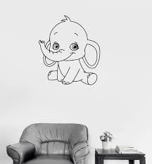 Vinyl Decal Baby Elephant Cute Animal Children Room Wall Sticker Uniqu Wallstickers4you
