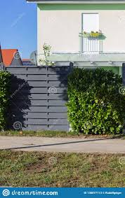 Modern Grey Wooden Garden Fence Stock Image Image Of Wall Green 136077113