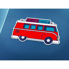 Red Volkswagen Bus Old School Travel Cheap Decals Passion Stickers