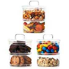 2 tier stackable clear glass storage