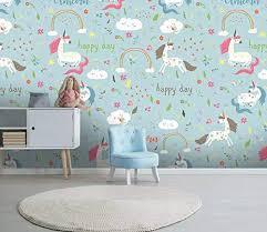 Amazon Com Murwall Kids Wallpaper Cartoon Unicorn Wall Mural For Child Rainbow Wall Art Girls Boys Bedroom Baby Room Play Room Handmade