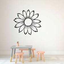 Sunflower Wall Decal Silhouette Vinyl Decor Wall Decal Customvinyldecor Com