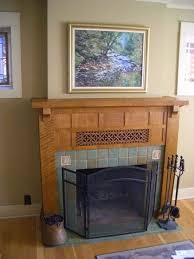 arts and crafts mantel by woodrivww