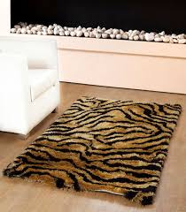 yellow black tiger s skin area rug