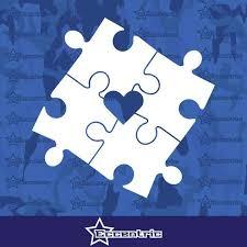 Autism Awareness Puzzle Heart Center Decal Car Window Sticker Truck La Eccentric Mall
