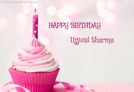 ❤️ Happy Birthday Cupcake Candle Pink Cake For Ujjwal Sharma