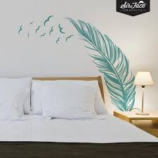 Feather And Birds Wall Decal Bedroom Wall Sticker Etsy