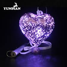 blown hanging led glass heart shaped