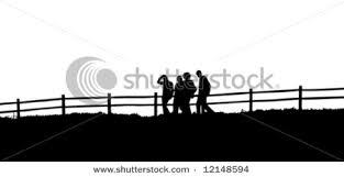 Silhouettes Of People Walking In Front Of A Fence Vector Clip Art Illustration Picture
