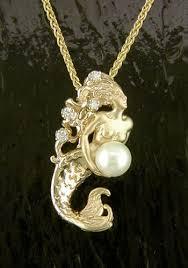 m080 14k pearl diamond mermaid pendant