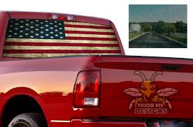 Usa Flag Perforated Sticker Dodge Ram 2500 Sun Protection Decals