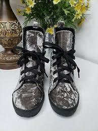 Steve Madden Women's Abby Gray Velvet Chunky Heel Lace Up Ankle Boot Size  6M | eBay