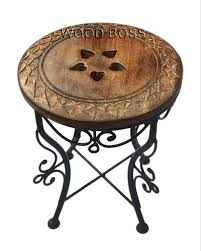 wooden carved top natural burnt finish