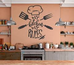 Amazon Com My Kitchen My Rules Kitchen Wall Sticker Decor Quote Inspirational Vinyl Sticker Decal Room Decor Wall Art Mural Home Decoration Bedroom Designs 13 Arts Crafts Sewing