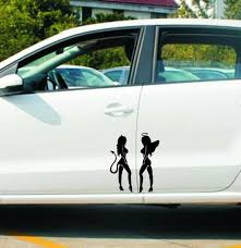 2020 Wholesale 19cm 14cm Angel Devil Sexy Girl Sticker Fun Personality Car Decal Car Styling Sticker Black White From Gudou 0 86 Dhgate Com