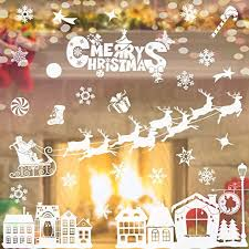 Christmas Window Clings Decals Decors Removable Diy Wall Stickers For Christmas Holiday Years Winter Decoration Ornaments Party Supplies Showcase Snowflakes Elk Christmas House Window Stickers