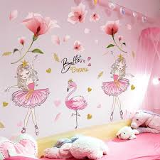 Hot Promo E6f73 Shijuehezi Pink Flowers Plant Wall Stickers Diy Girl Flamingo Animal Wall Decals For Kids Bedroom Baby Room Home Decoration Cicig Co