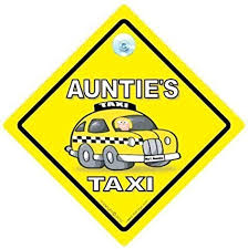 Amazon Com Driving Iwantthatsign Com Auntie S Taxi Car Sign Baby On Board Car Sign Auntie S Taxi Sign Auntie S Taxi Car Sign Aunties Taxi Auntie S Taxi Taxi Sign Decal Bumper Sticker Baby Car Sign Baby