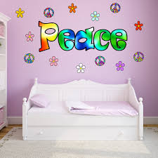 Peace Sign Wall Decal Peace Wall Words Love Hippie Retro Flowers Sticker Hf2 Wall Decal