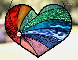 stained glass rainbow heart suncatcher