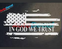 In God We Trust American Flag Usa Vinyl Window Decal Sticker Etsy