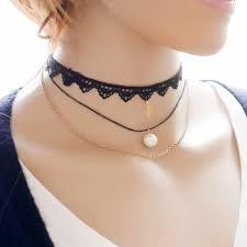 beautiful girls choker necklace black