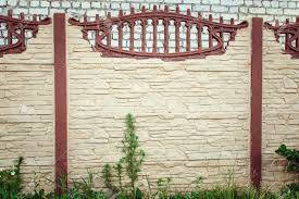 Beautiful Concrete Fence Of Modern Style Design Fence Ideas Stock Photo Picture And Royalty Free Image Image 92115913