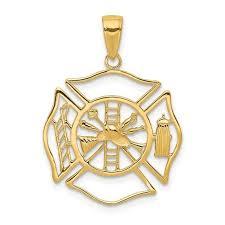 14k fireman shield pendant new charm