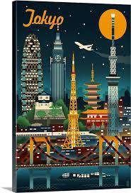 Tokyo Japan Retro Skyline Wall Art Canvas Prints Framed Prints Wall Peels Great Big Canvas