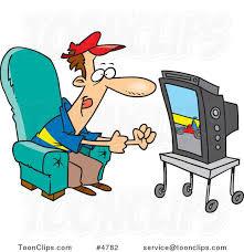 Cartoon Race Fan Watching Tv #4782 by Ron Leishman