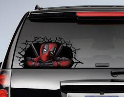 Deadpool 3d Cracked Window Decal Awesome Stuff 365